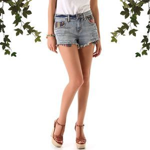 Free People Baja Serape Rugged Cut Off Jean Shorts